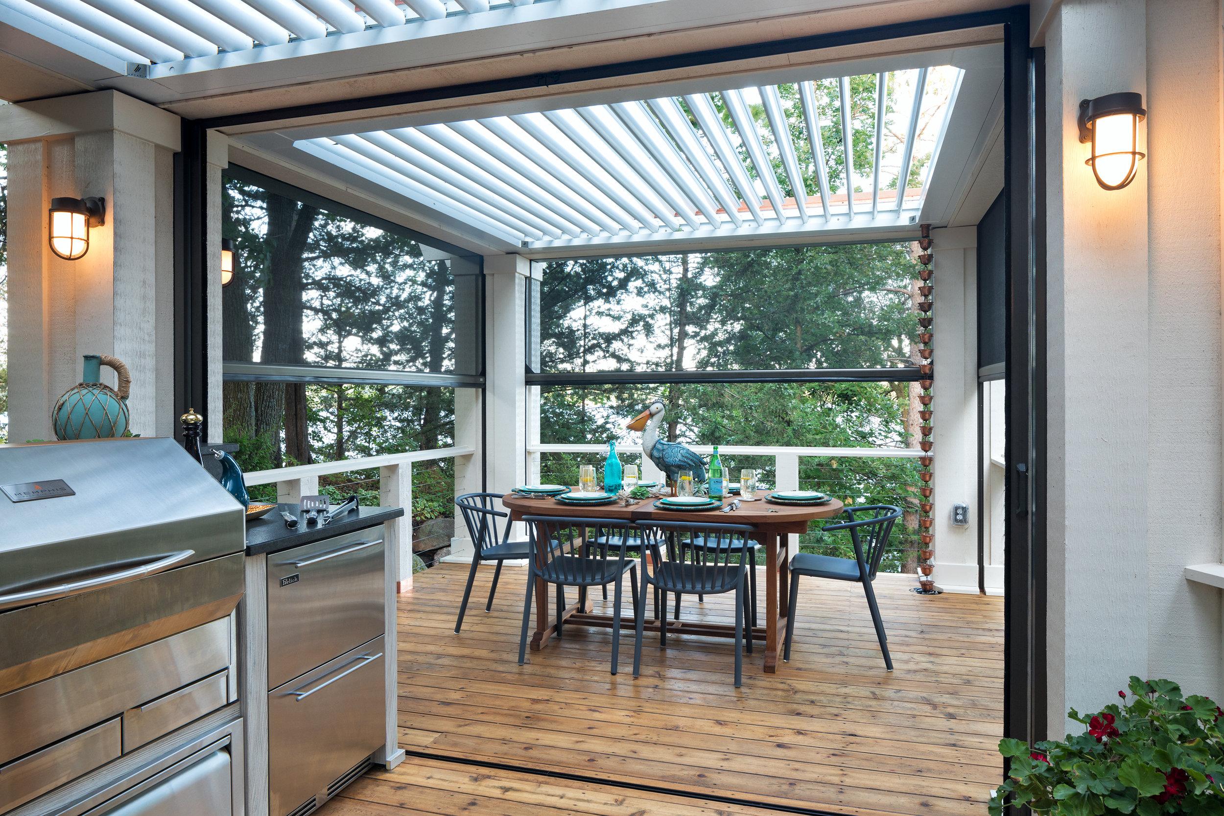 Mom's Design Build - Backyard Outdoor Dining Table Automated Screen Door
