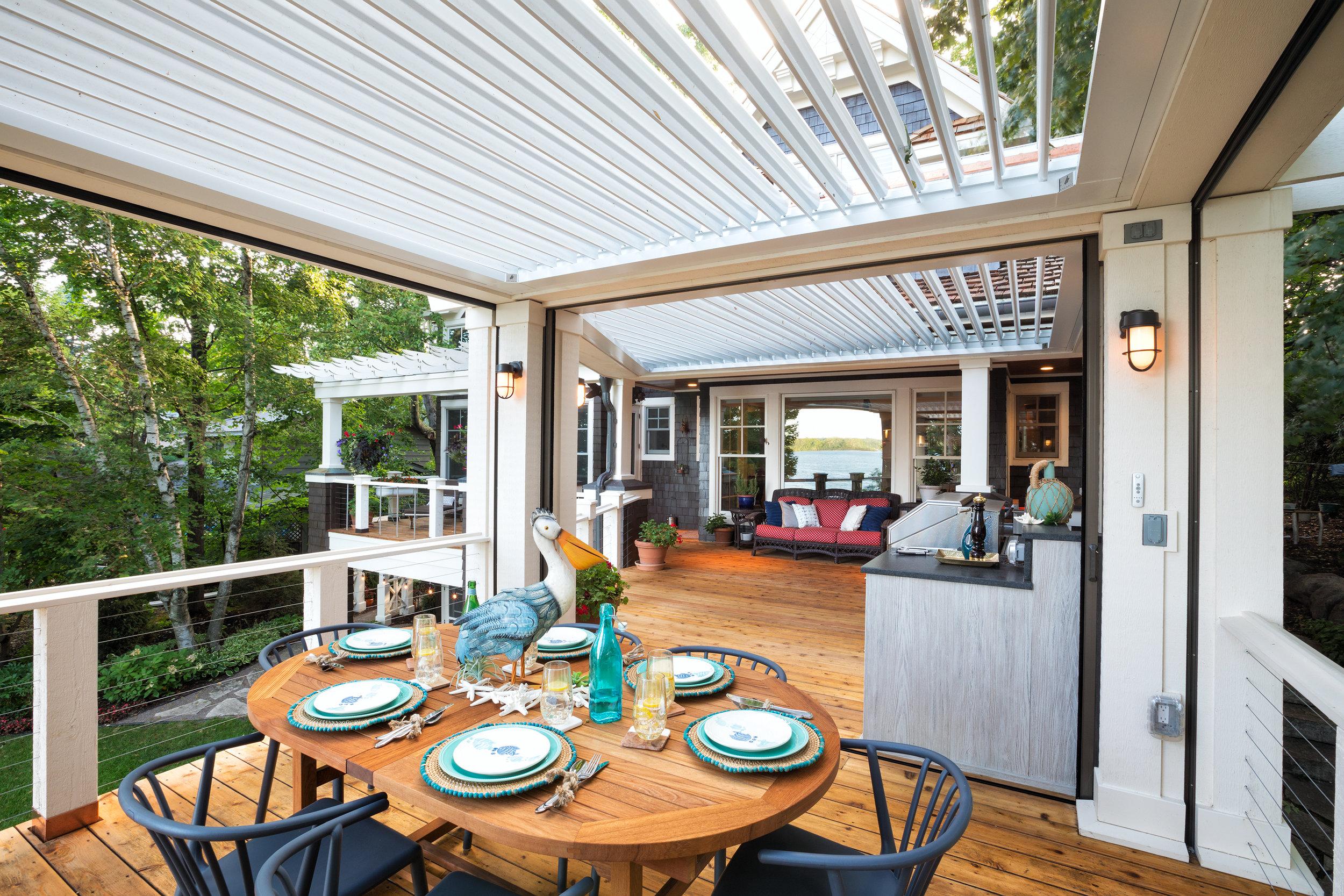 Mom's Design Build - Outdoor Dining Kitchen Living Room