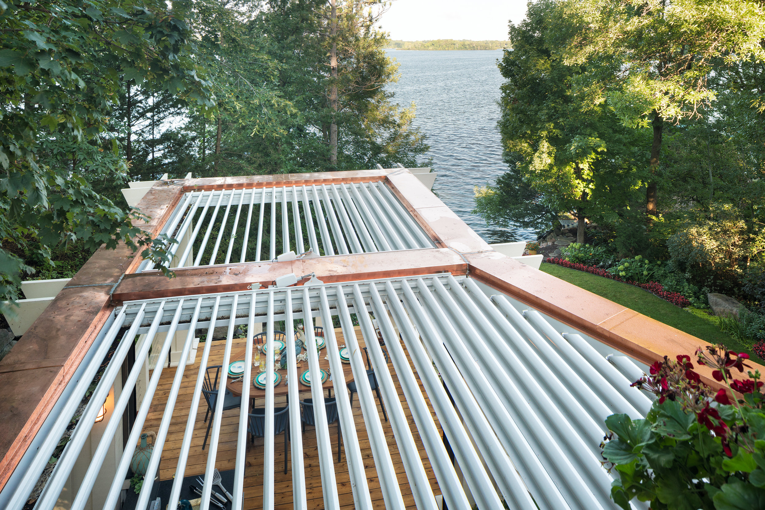 Mom's Design Build - Copper Automated Louvered Roof System