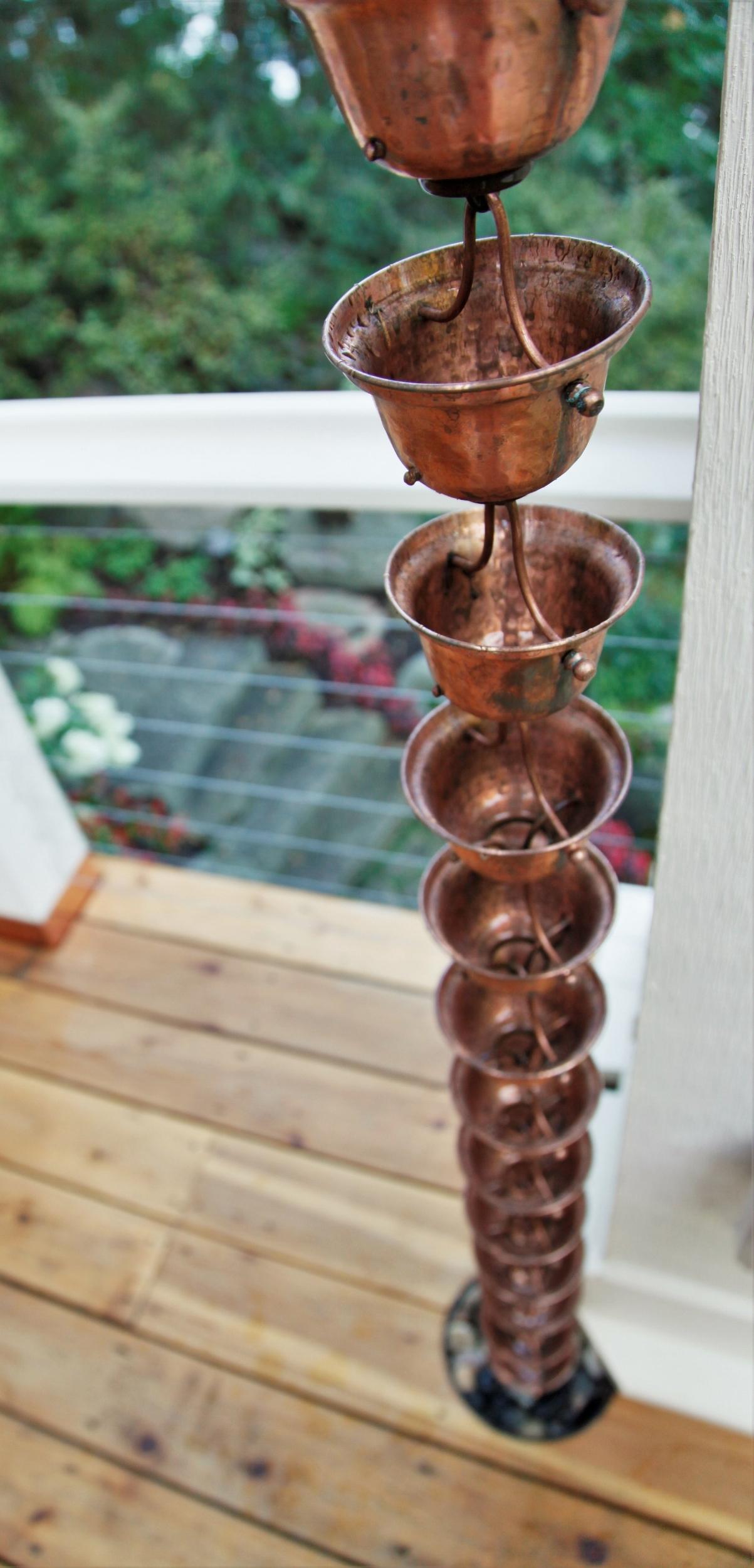Mom's Design Build - Copper Rain Chain Gutter