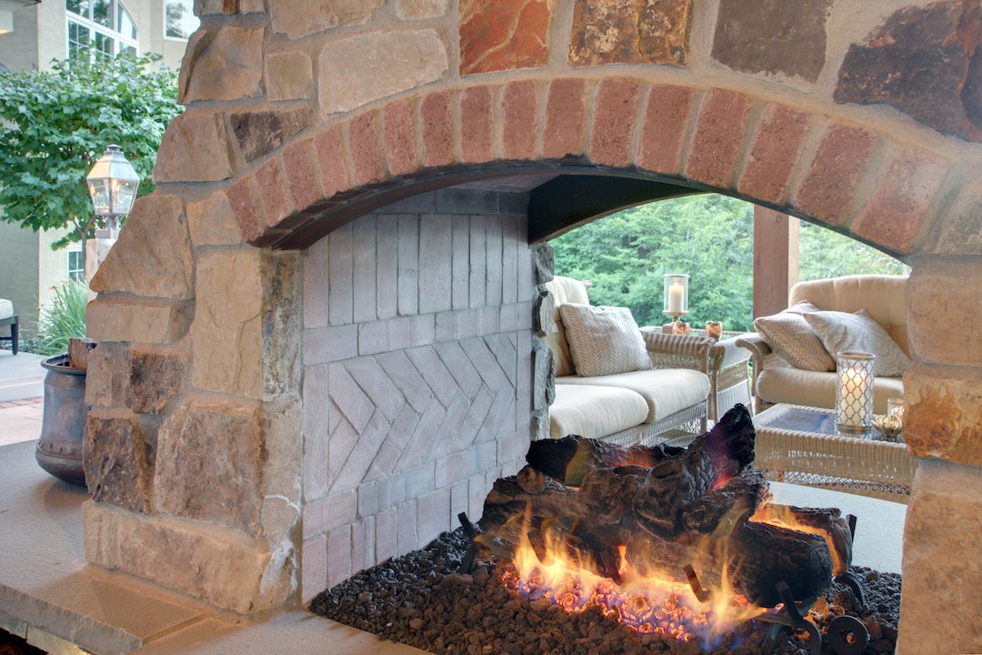 Moms Design Build - Natural Stone Gas Fireplace Brick