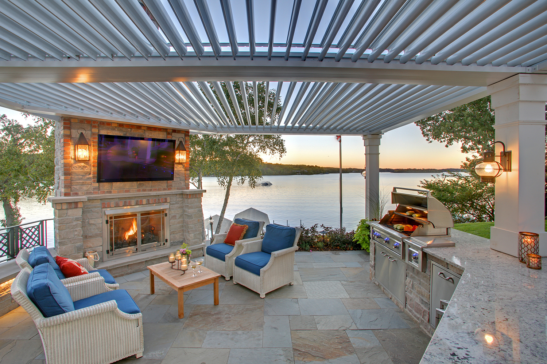 Mom's Design Build - Lake Minnetonka Fireplace backyard landscape infrared grill