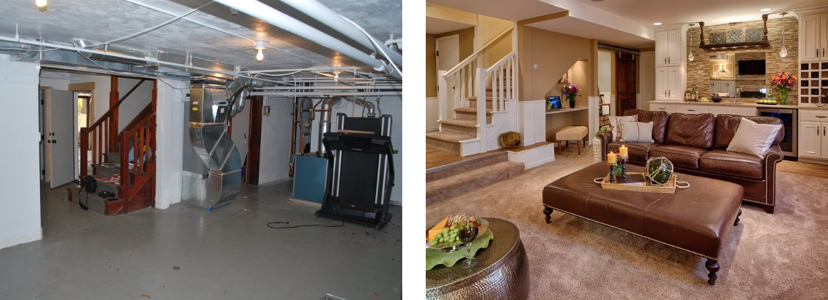 Before and After: A Dingy Basement Gets Transformed into a Cozy Lounge