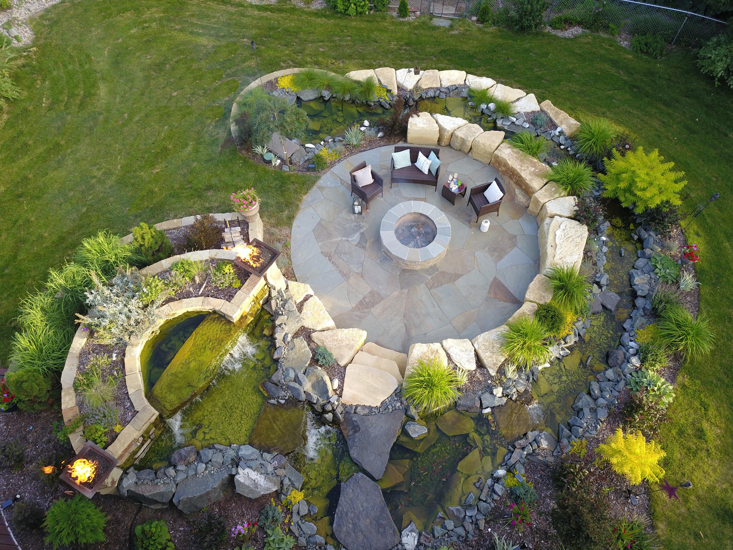 Moms Design Build - Landscape Architecture Backyard Pond Water Feature