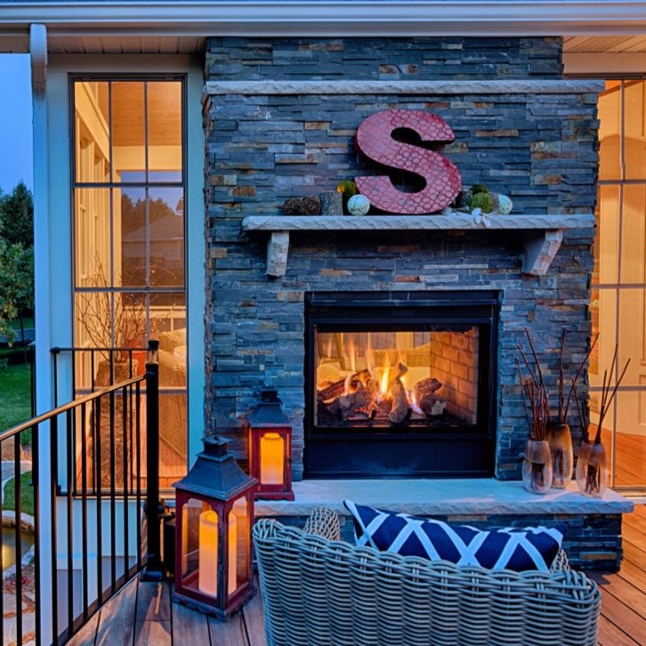 See-through Fireplace Outdoor View
