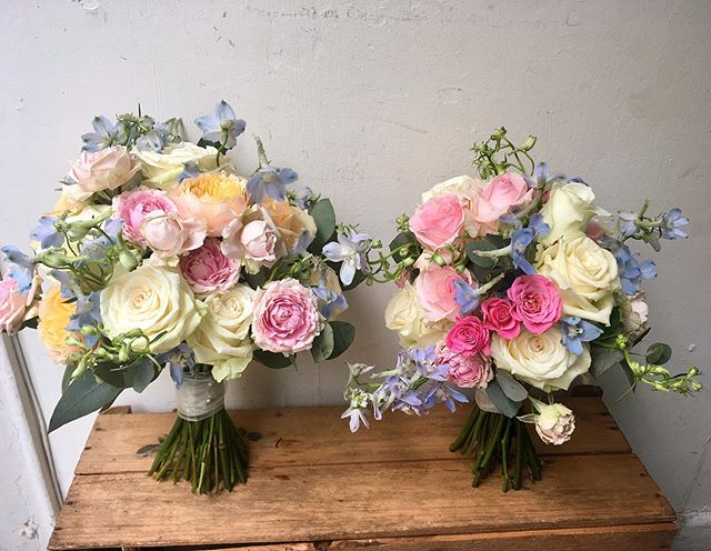 More shades of summer from the weekend. Congratulations to Ciara and Jack! #summer #summerflowers #weddingbouquet #delphinium #pink #peach #cream#roses#flowers #flowersofinstagram