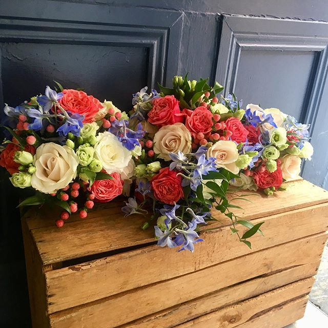 One of Gillian's creations, to suit a coral colour scheme with a hint of blue. #bubblegumroses #coral #delphinium #weddingbouquets #corkcity #florist