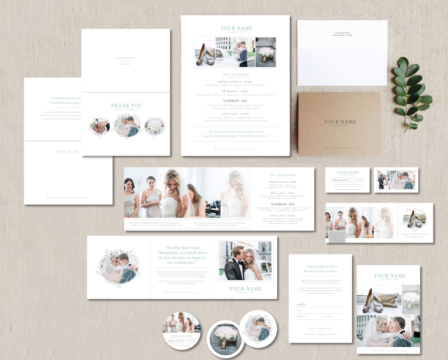 Complete the freebie with this matching marketing set and magazine to complete a cohesive look.