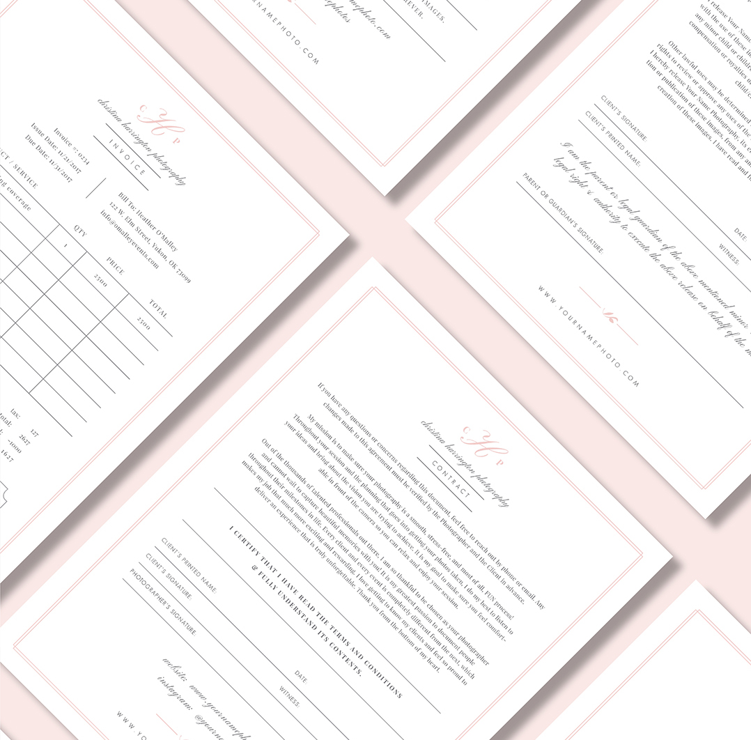 Wedding contract templates for photographers.