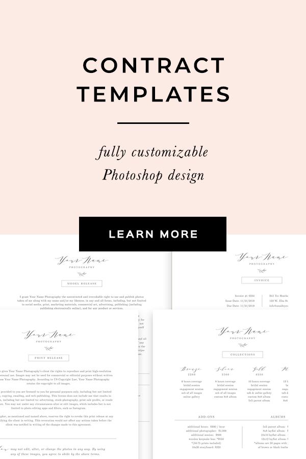 Photographer wedding contract design template. Bittersweet Design Boutique.