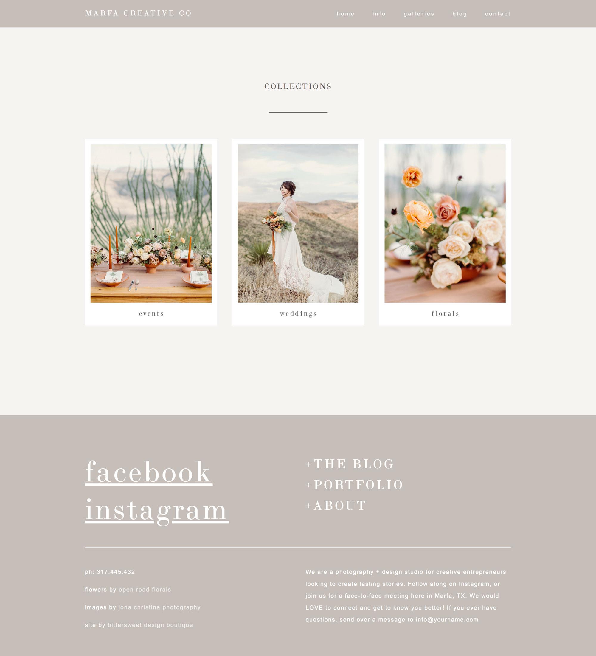 Squarespace website templates for photographers & bloggers | wedding photographer website design ideas