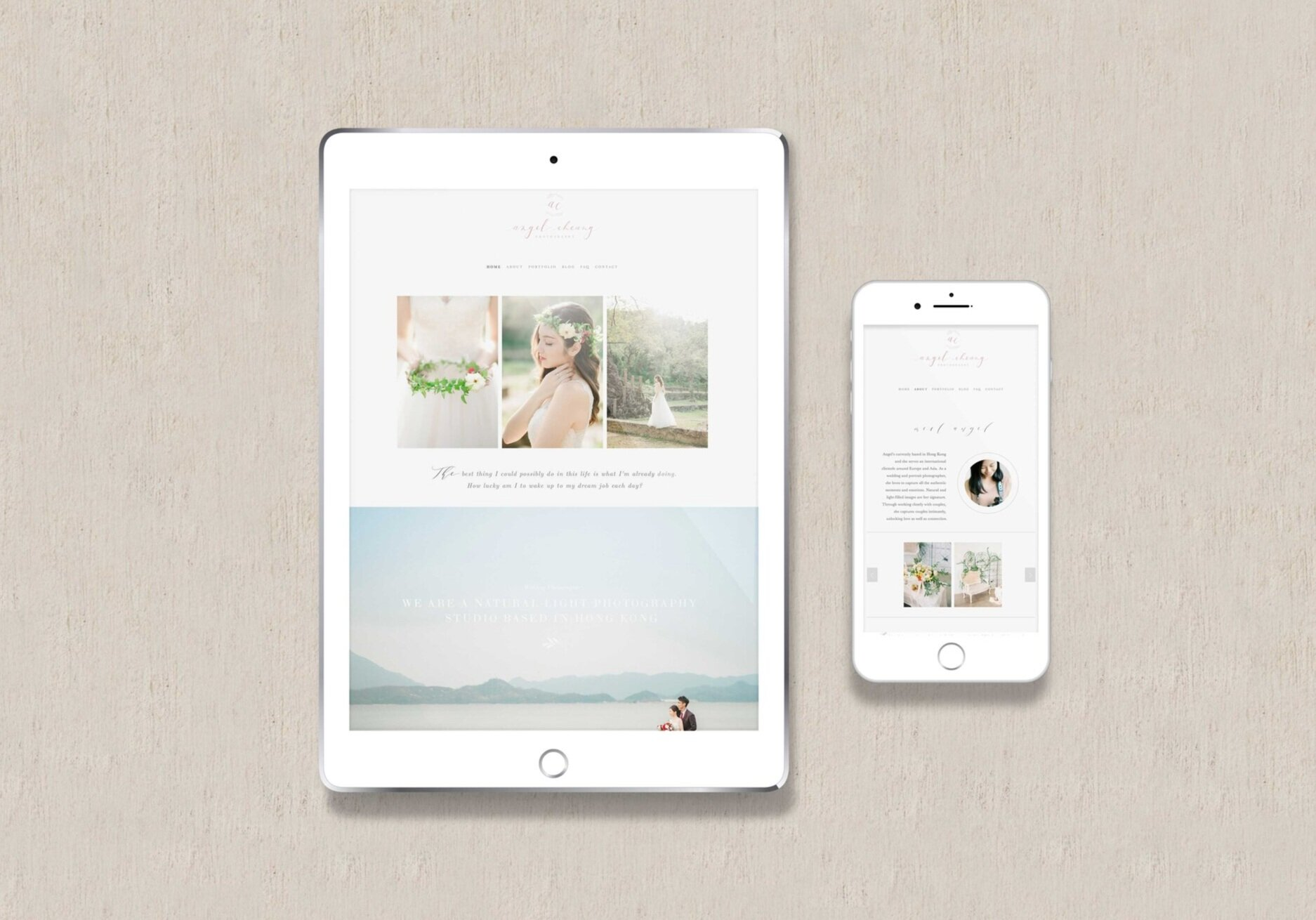 squarespace website template  example by Angel Cheung