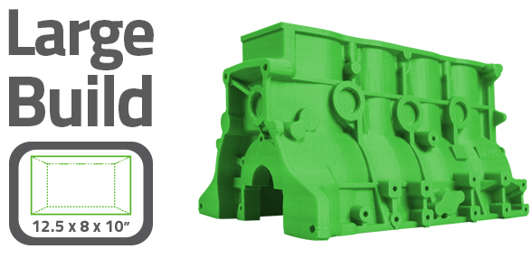 The AXIOMe's 1000 in³ build volume allows for very large 3D prints making it the ideal desktop solution for rapid prototyping and manufacturing functional products
