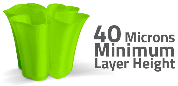 With a minimum layer height of just 40 microns the AXIOMe can produce ultra-fine detail while minimizing the striated appearance common to FFF style 3D printers