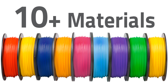 AXIOMe is capable of printing in many thermoplastic materials including PLA and TPU