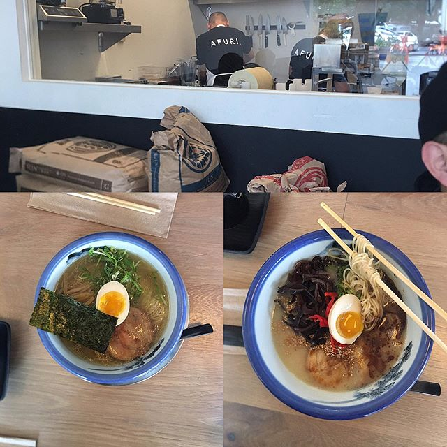 Finally posting some photos from our recent Portland trip. So many great food memories to keep stock of like @afuripdx We prefer our noodles firmer but it was a great spot to get our noodle fix. They use a blend of @sunnoodles flours to make fresh noodles and their signature soup is the Yuzu Shio. #delish The space was also beautiful and efficient. They are opening a location in Richmond this November! #portlandoregon #ramen #richmondeats