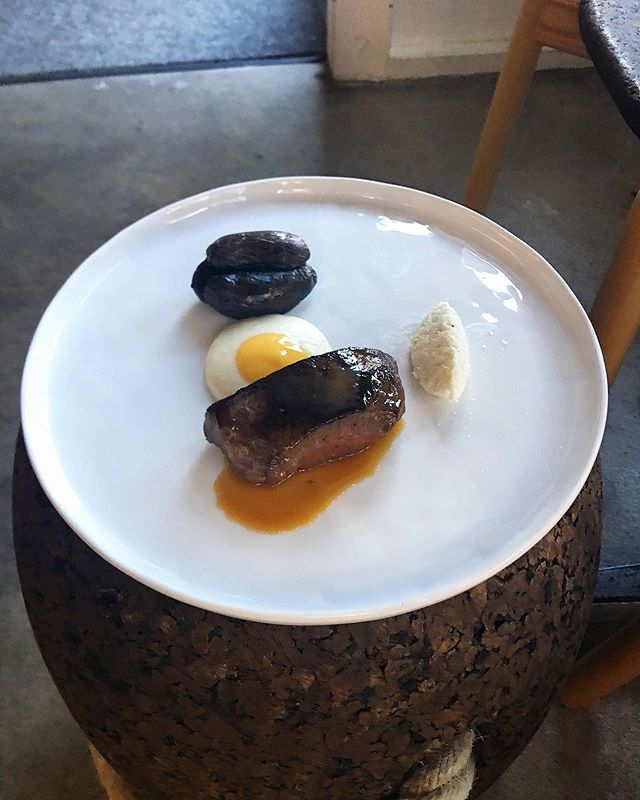 Koji flat iron wagyu steak with eggs & kohlrabi, new on our Chef's Menu. #smallteambighearts #steakandeggs . . . . . . #wagyu #purplepotatoes #kohlrabi #yolks #cookslife #cheftalks #dishedvan #veryvancouver #yvreats #foodphotography #kitsilano #food52