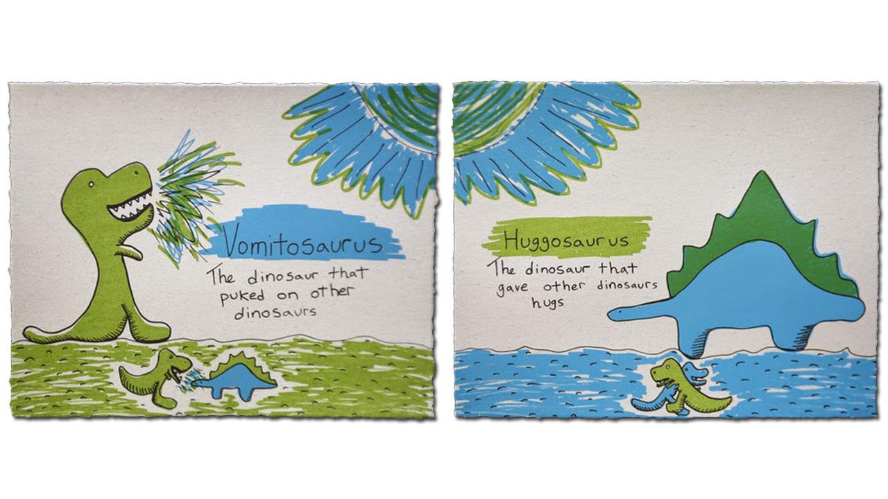 """Vomitosaurus"" & ""Huggosaurus"" (2014)"