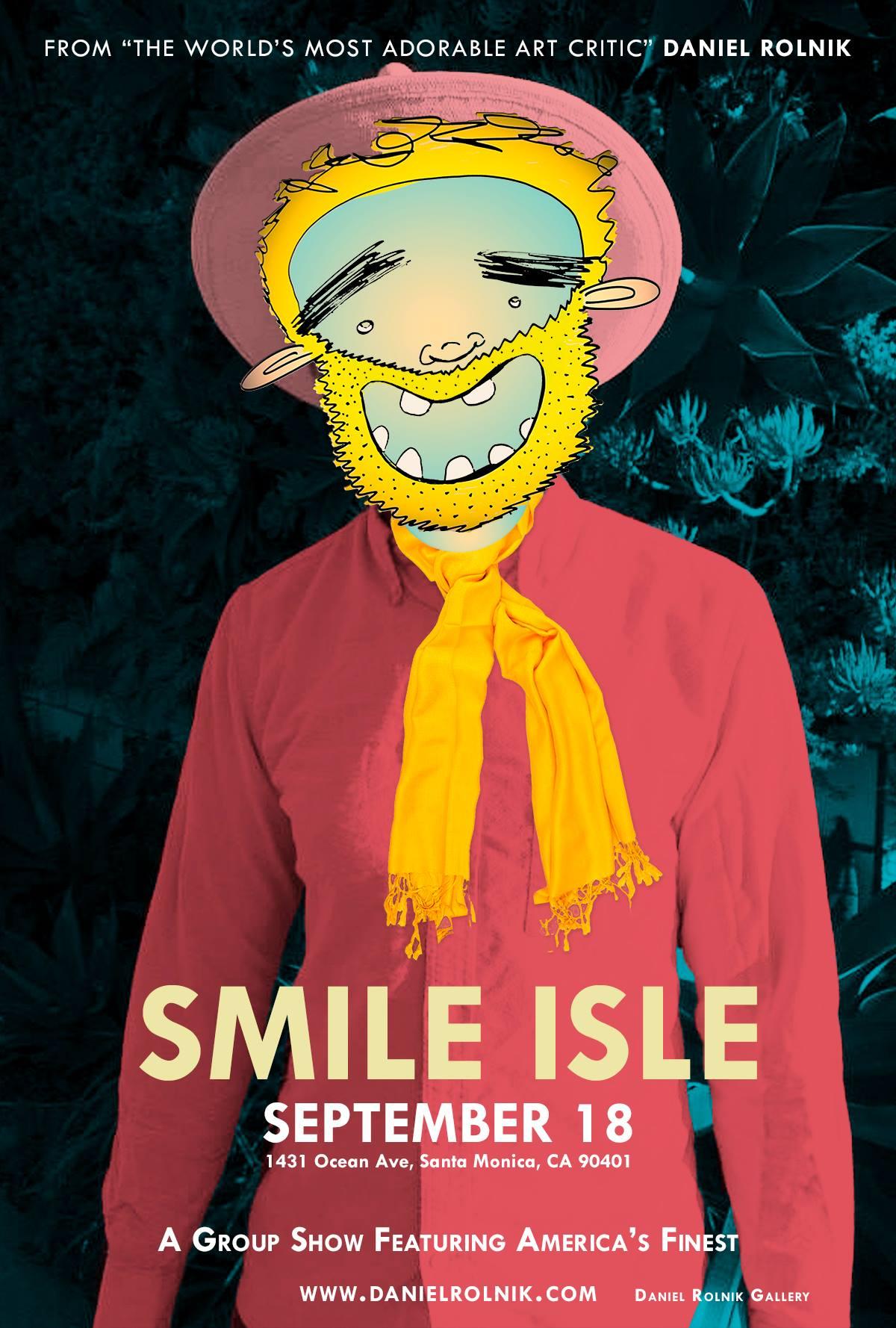 """Flyer for """"Smile Isle"""" at Daniel Rolnik Gallery (Sept. 2014)"""