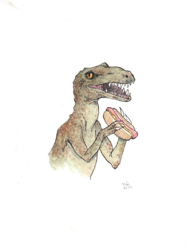 """Sunday at the Dino Weenie Roast (Raptor)"" by Kat Philbin"