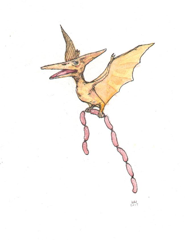 """Sunday at the Dino Weenie Roast (Pterodactyl)"" by Kat Philbin"