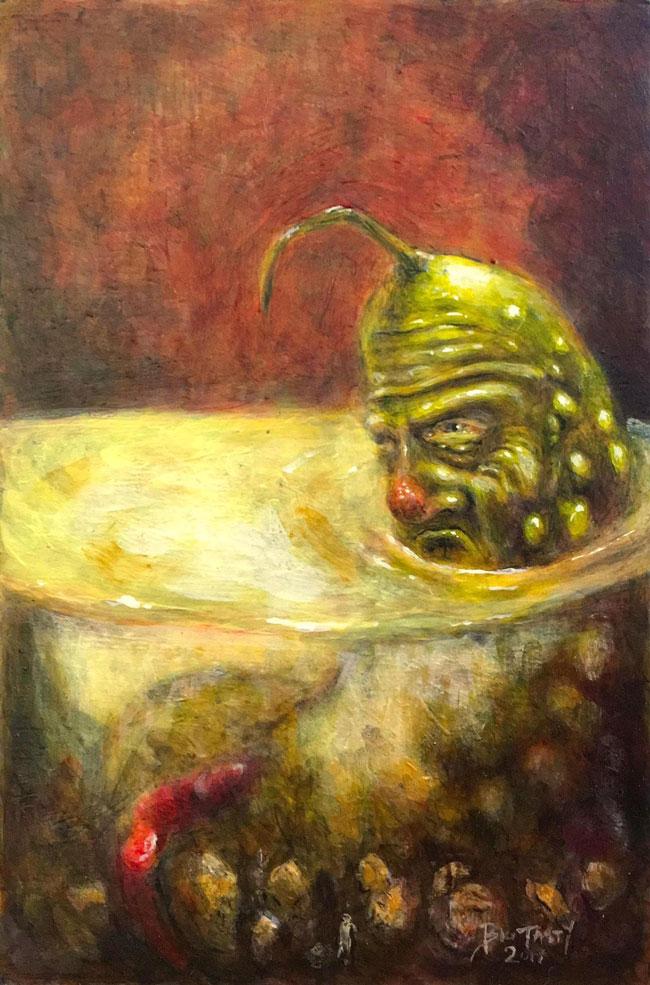 """Ol' Sourpuss, the Saltiest Gherkin in the Brine"" by Big Tasty"