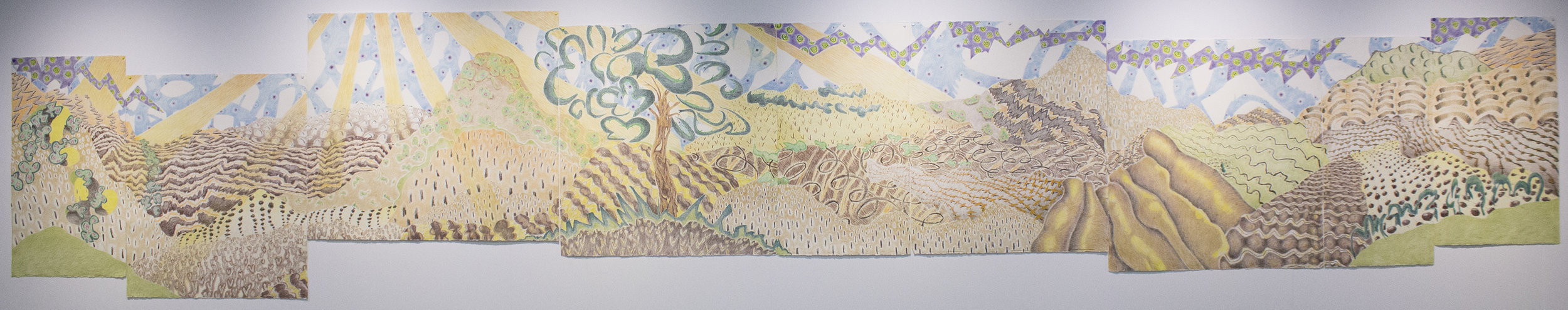 La corona, the magic tree, and Nicolas de Santa Cruz, the Shepherd boy. Crayon on paper approximately 50 x 288 inches