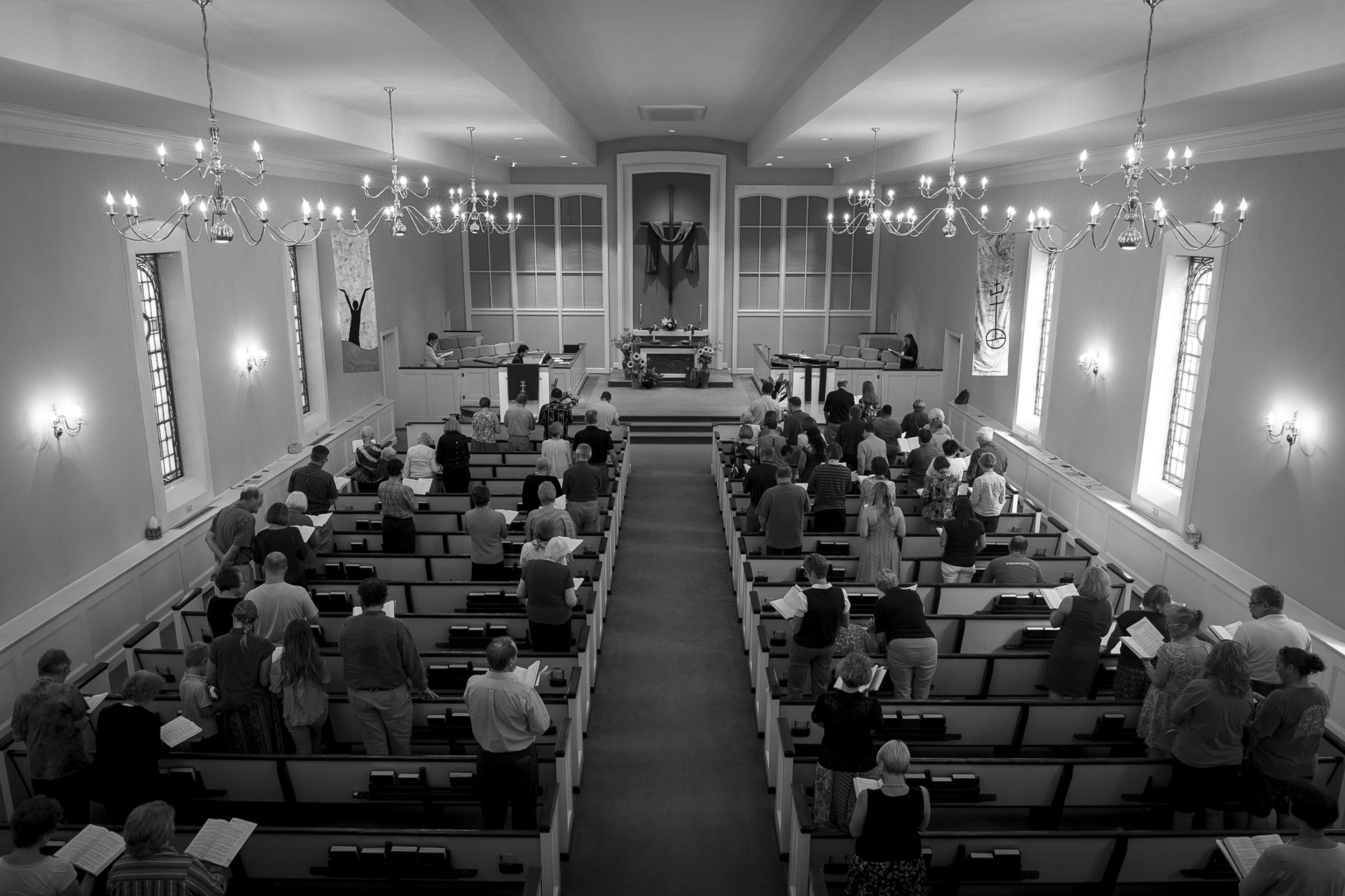 The Congregational United Church of Christ in Greensboro, NC holds Sunday worship on Sept. 24, 2017. The church recently decided to open up a sanctuary for undocumented immigrants. Minerva Garcia and her two sons, Mateo and Antonio, are the first to seek refuge in the church.