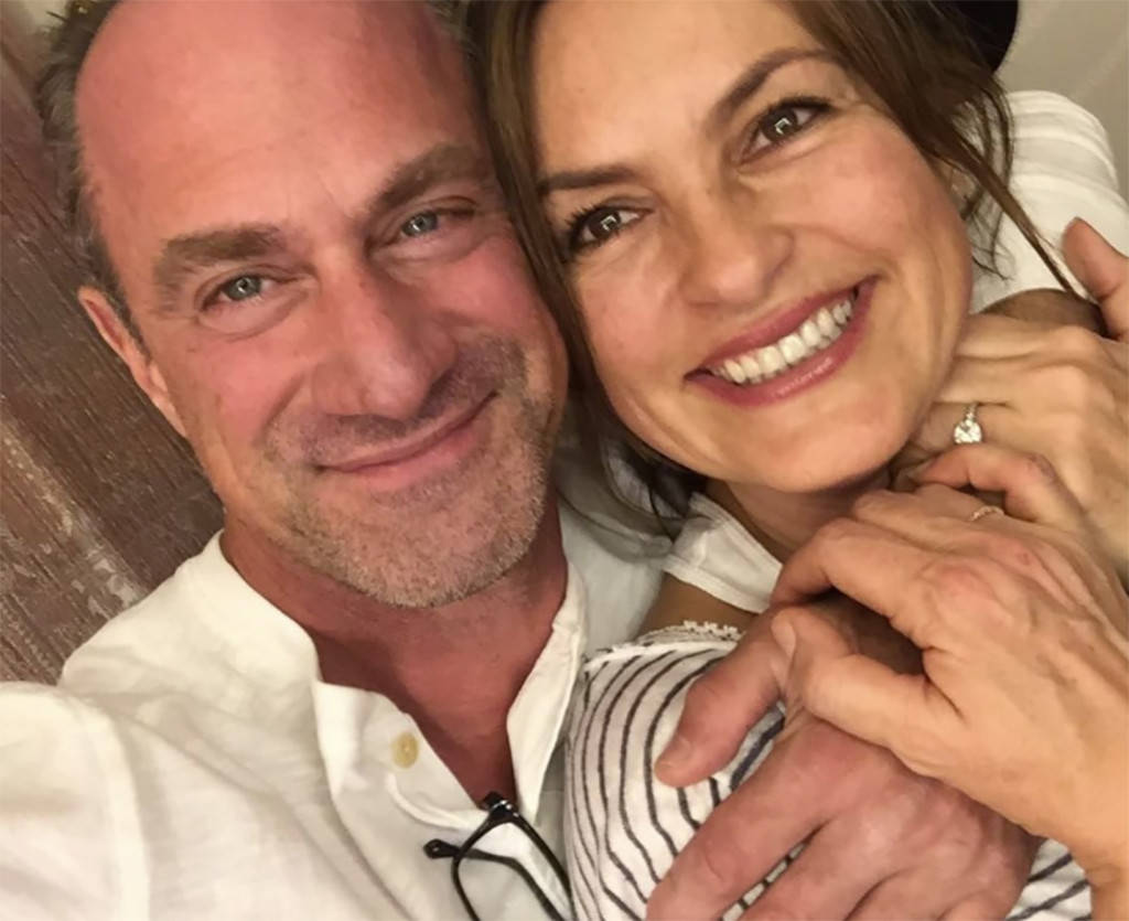 Benson and Stabler probably talking about how awesome filming the season 18 finale together was.