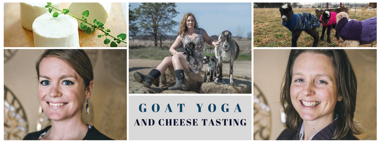 During Spring, join us for a special treat, Yoga in the country with Baby Lamancha Goats and Cheese Tasting from Simple Food. Your Practitioner will guide you through classic empowering and relaxing Yoga poses. Your body becomes a playground for goats just born into this world. It's a circle of fun and healing that will open your heart. Completely serious, incredibly hilarious, and everything in between. Each class ends with Simple Food's, specially crafted Goat Cheese and Milk tasting. **Seasonal** Please bring your own Yoga mat.  Click the link below to register.   75 Minute Class with Cheese tasting $45 / without Cheese tasting $35   **PLEASE CALL TO REGISTER FOR $35 CLASS OPTION WITHOUT CHEESE TASTING**  Location will be given after registration.