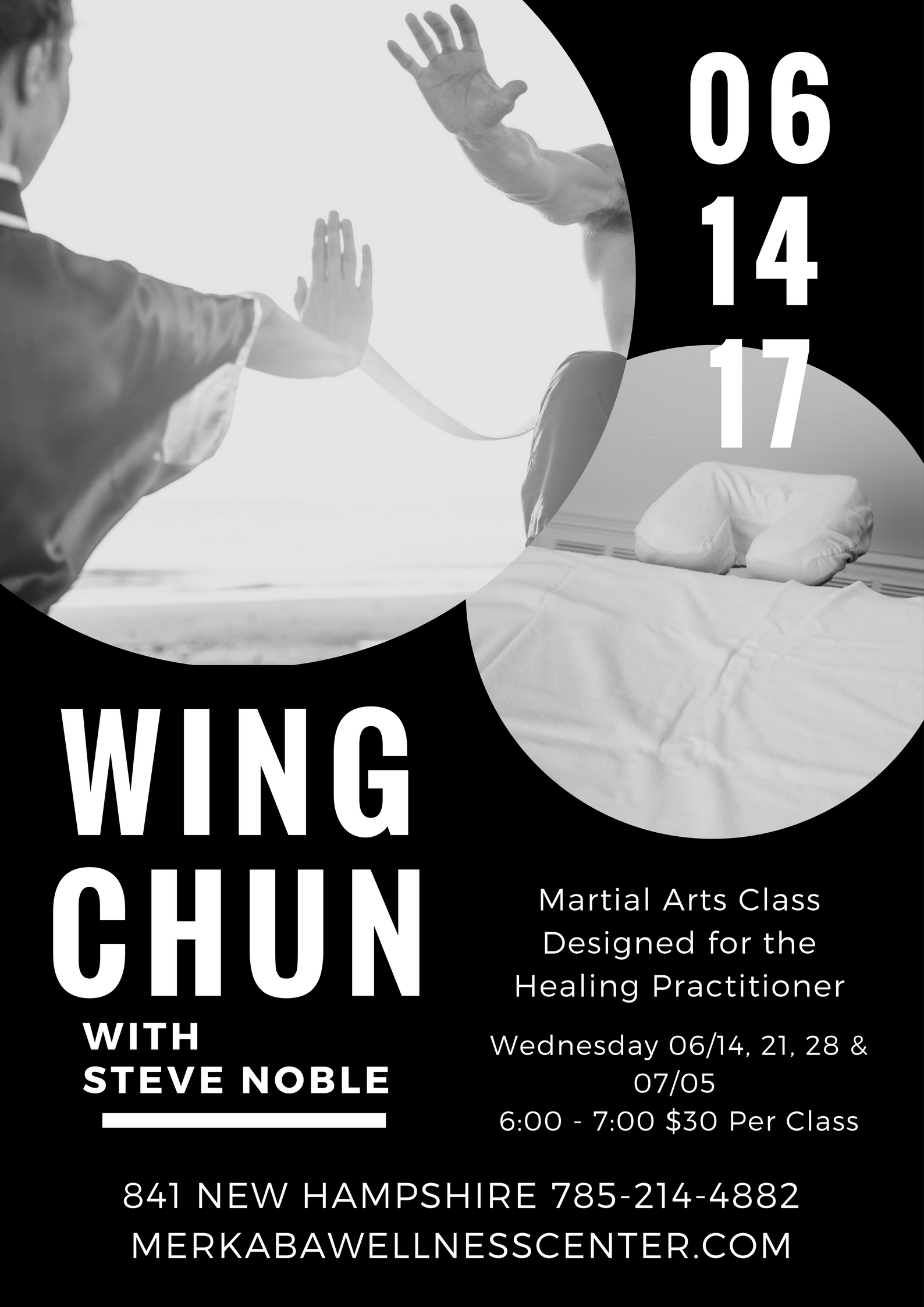 Join us Thursday's starting June 14th - July 5th, for a 4 week self defense class designed specifically for Healing Practitioners who work in small enclosed spaces.  Wing Chun insists in both principle and practicality that no matter the size difference or close proximity, you can handle any self defense situation if you have the right skills.   History of Wing Chun   The common legend as told by Yip Man,  involves a young woman named Yim Wing Chun during the period after the destruction by the Qing government of the Southern Shaolin and its associated temples.  Having denied the local warlord's marriage offer, Yim Wing-Chun said she would reconsider the proposal if he could beat her in a fight. She soon crossed paths with a Buddhist nun named Ng Mui who was a Shaolin Sect survivor, and asked the nun to teach her to fight. According to legend, Ng Mui taught Yim Wing-Chun a new system of martial art that had been inspired by the nun's observations of a confrontation between a Snake and a Crane. This then still nameless style enabled Yim Wing-Chun to beat the warlord in a one-on-one fight. Yim Wing-Chun thereafter married Leung Bok-Chau and taught him the style, which was later named after her.  We hope to never have to use these skills but should we be faced with a challenge we will be well equipped to handle it.