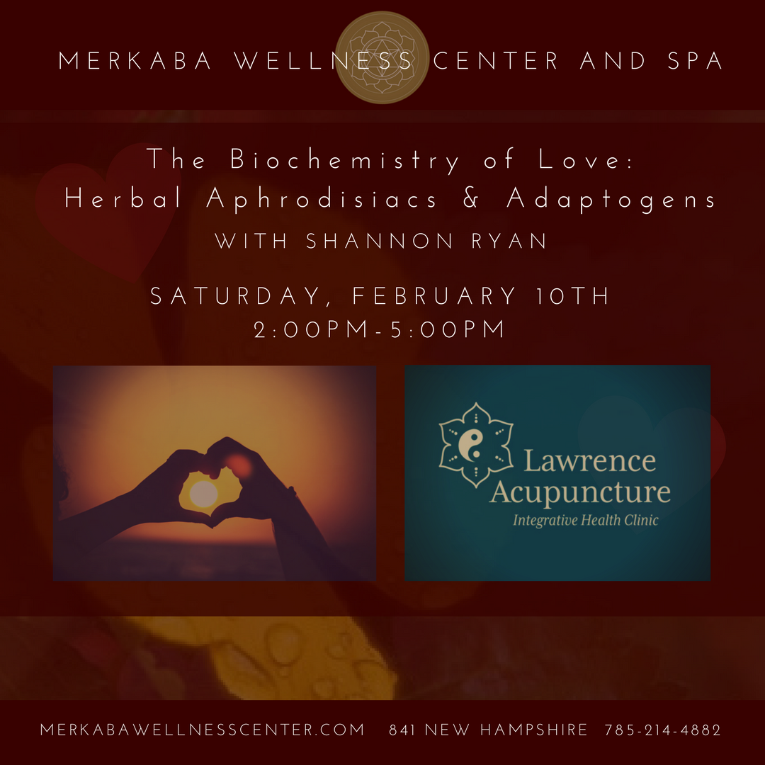 The Biochemistry of Love: Herbal Aphrodisiacs & Adaptogens Dive deep into this dynamic, hand-on intensive workshop to discover the biochemistry behind feelings of love, arousal, connection, and the medicinal plants that can aid us in these healthy and important processes. We will look in-depth at six different powerful aphrodisiac and adaptogenic herbs, the phytochemistry of how they work in the body, contraindications, and practical ideas for application. We will finish the class with sampling yummy teas, hand-crafted herbal chocolates, and finally making our very own Damiana Cordial to take home! (Value $20)    Click here to purchase your ticket.