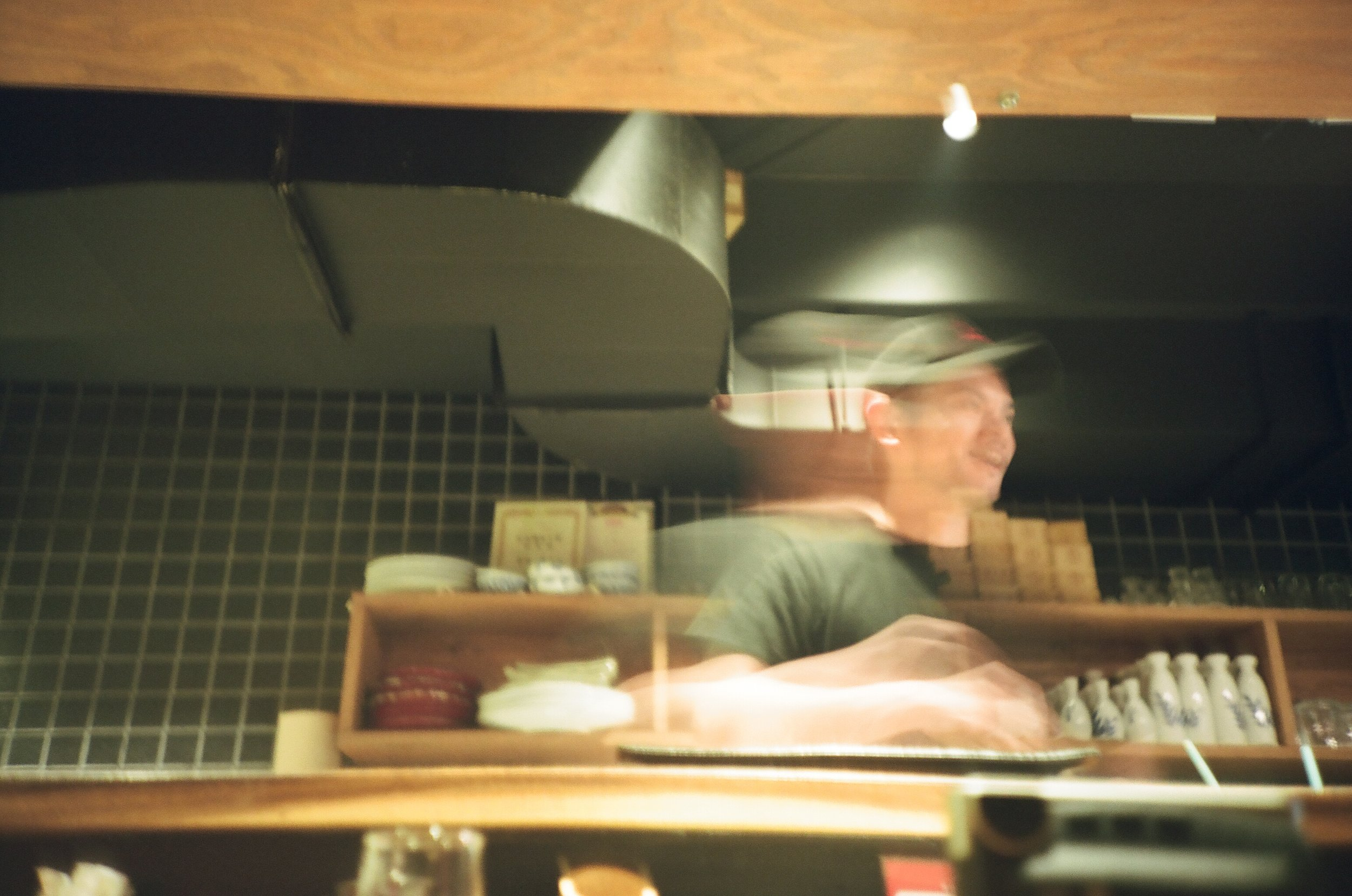 Another night at the sushi counter  (Lomo LCA, Portra 160)