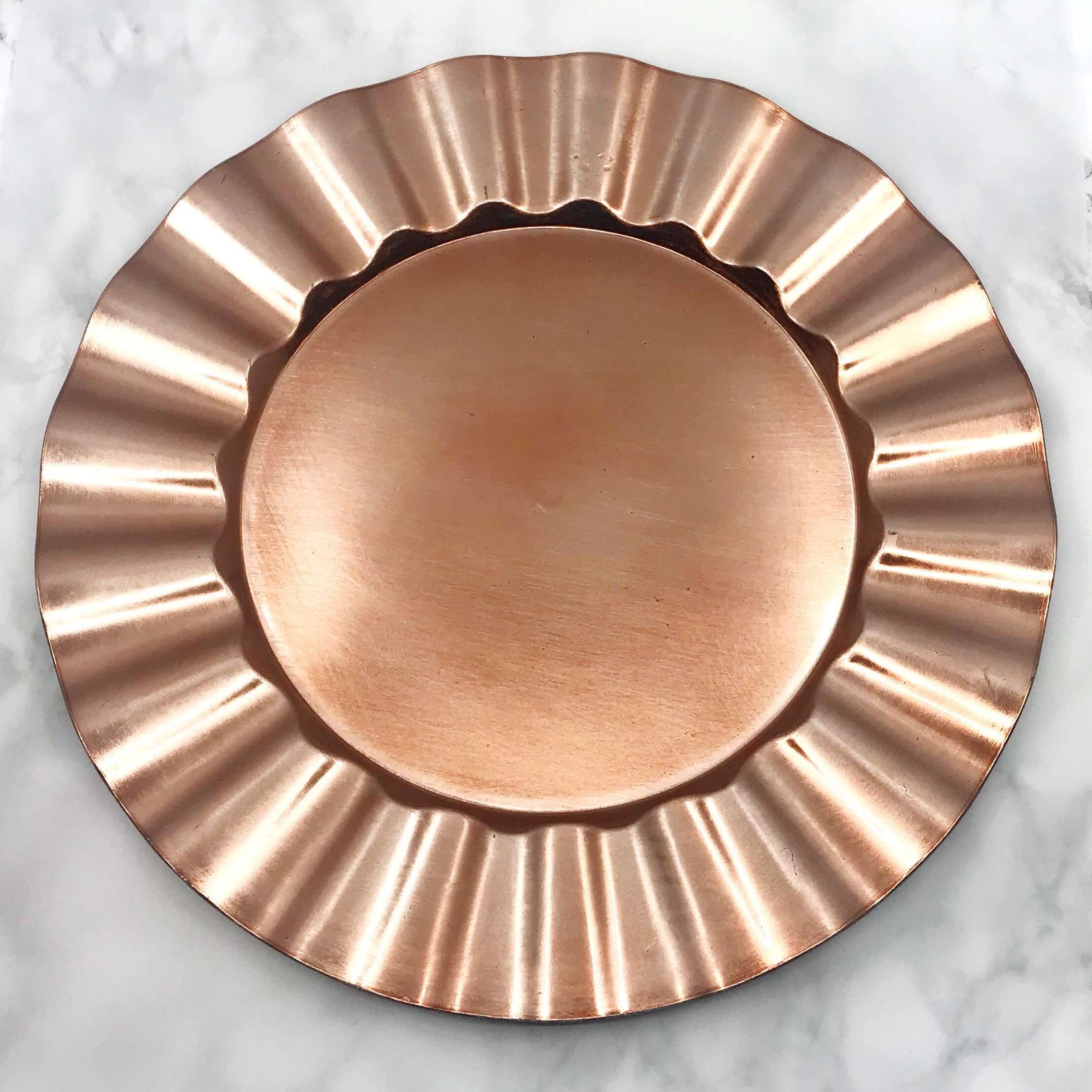 Acrylic Rose Gold Ruffled Rim Chargers