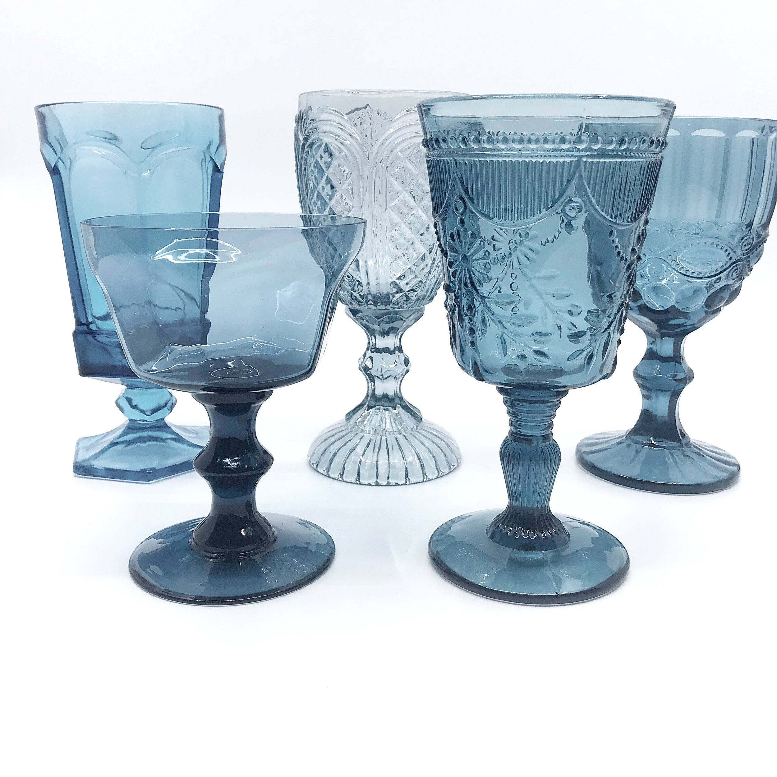 Dusty Blue Glassware Collection