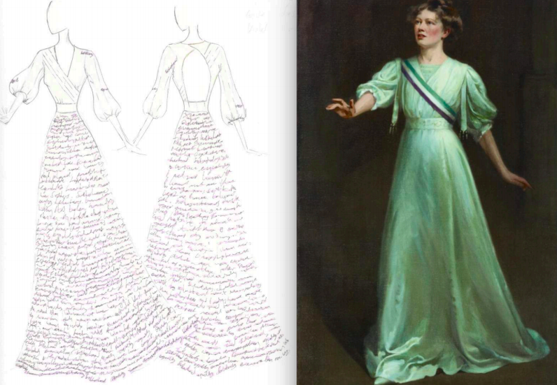 The dress is inspired by Christabel Pankhusrt by Ethel Wright- Artwork available to view at the National Portrait Gallery.