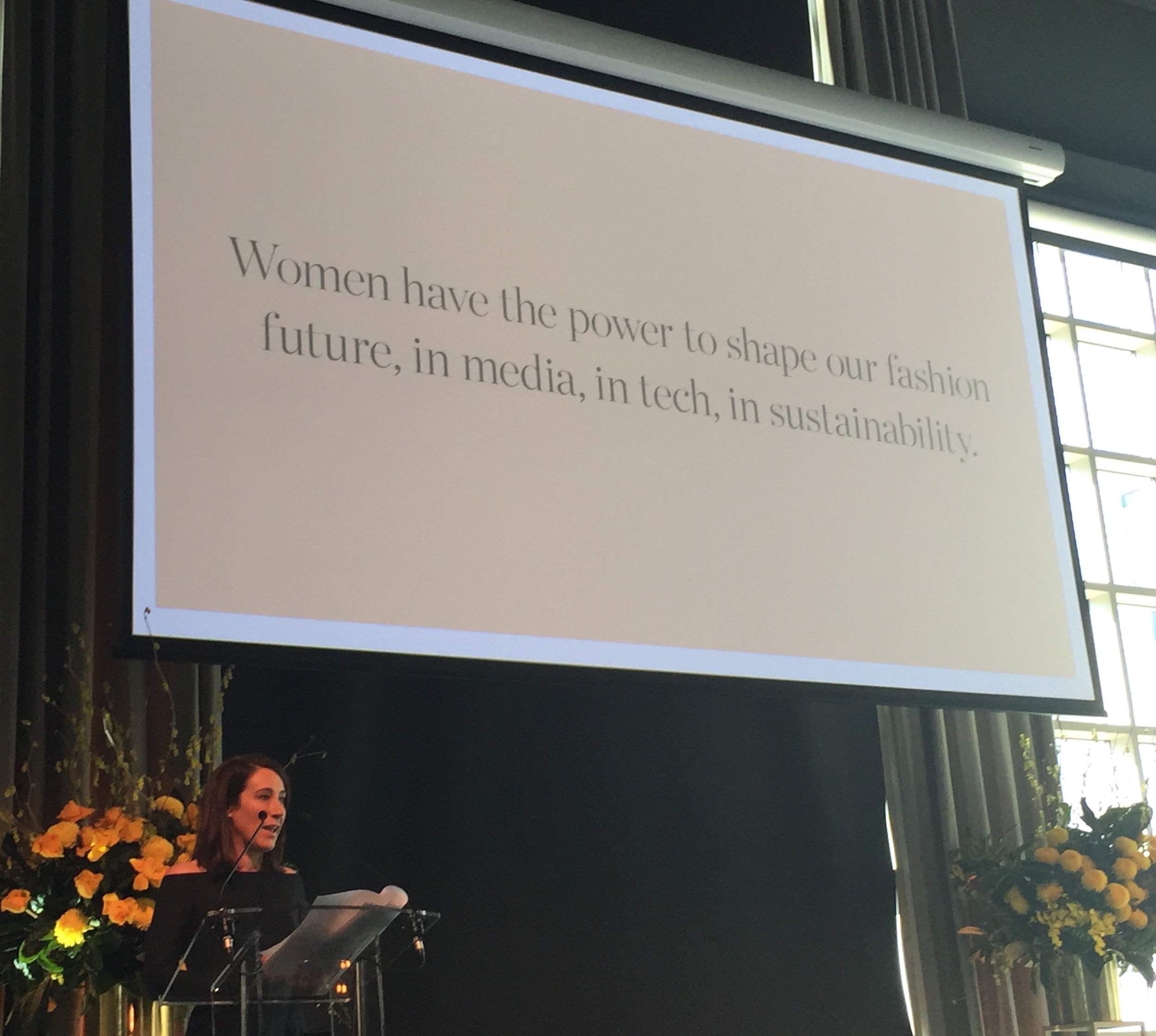 Edwina McCann, editor-in-chief of  Vogue  Australia, speaking at the 2018 Melbourne Fashion Week Fashion Forum