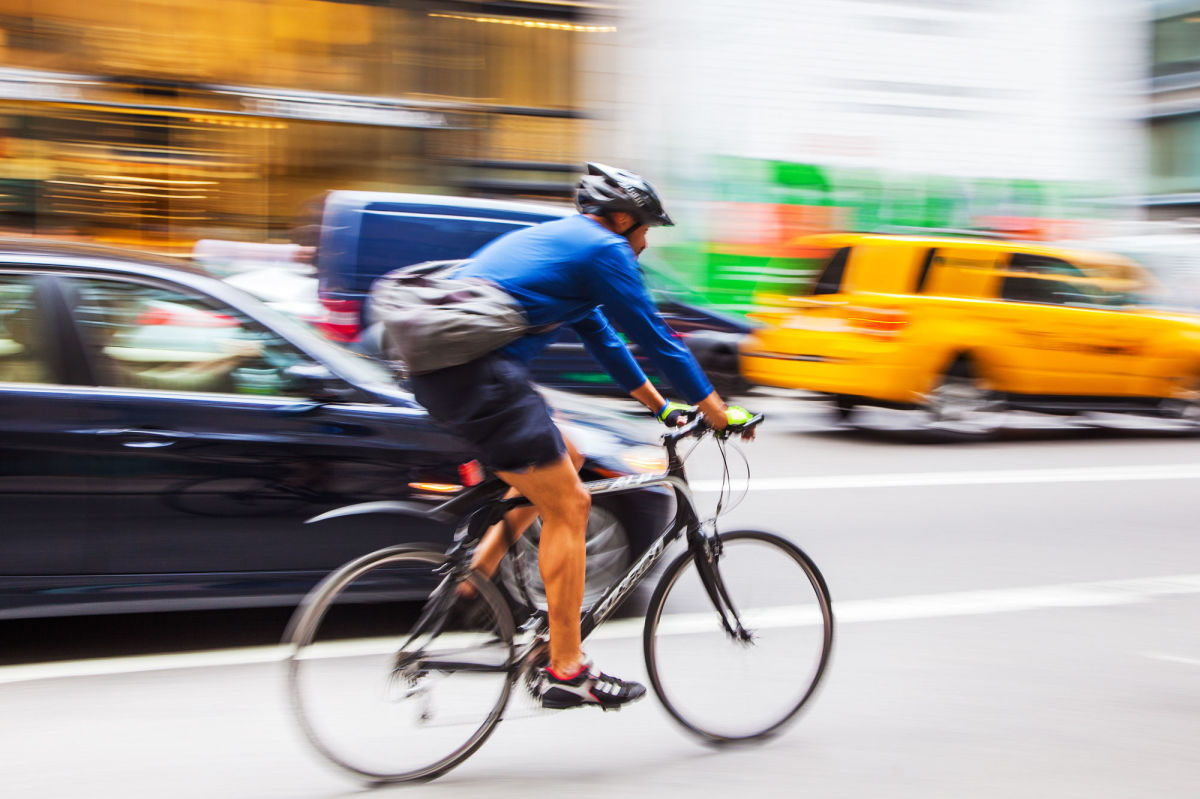 Quick reactions are essential when on a bike - especially when riding in New York City