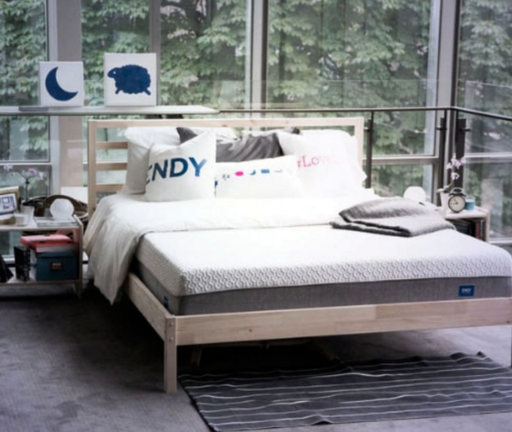 The Endy mattress can be used on platforms, box springs, the floor and slated frames.
