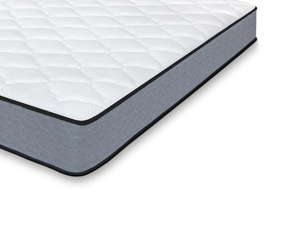 The Bedaga mattress has a quilted foam top with quilted gray fabric around the sides. Nanocoils provide edge support