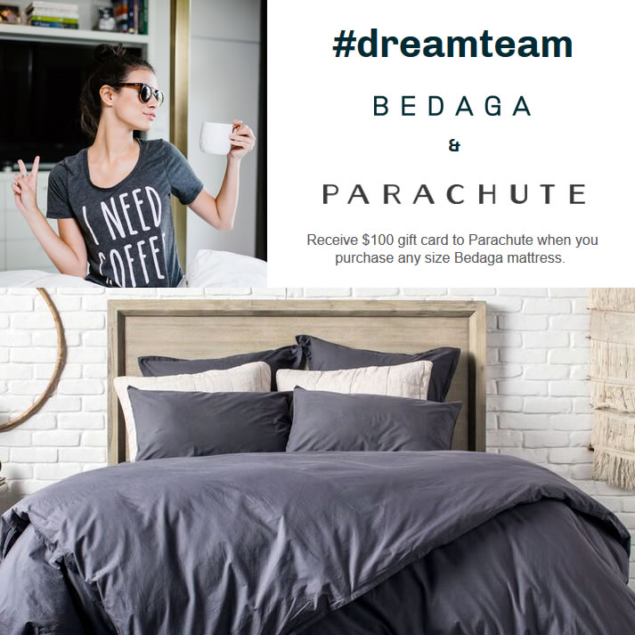 Get a $100 Gift Card to spend on parahcutehome.com - choose from sheets, blankets and more with the purchase of any Bedaga mattress.
