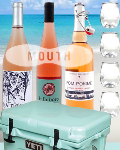 Rosé Colored Glasses + Wine from Mouth.com and a Yeti Cooler to keep it chilled