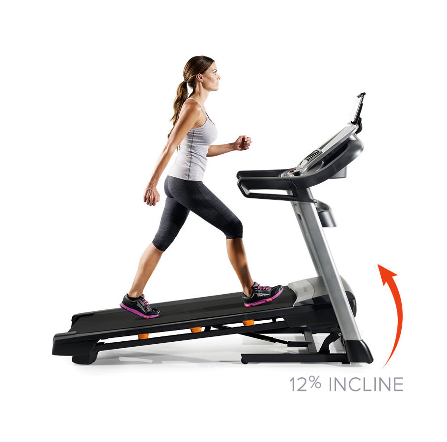 THIS TREADMILL OFFERS A 12% INCLINE  FOR MORE CHALLENGING WORK-OUTS