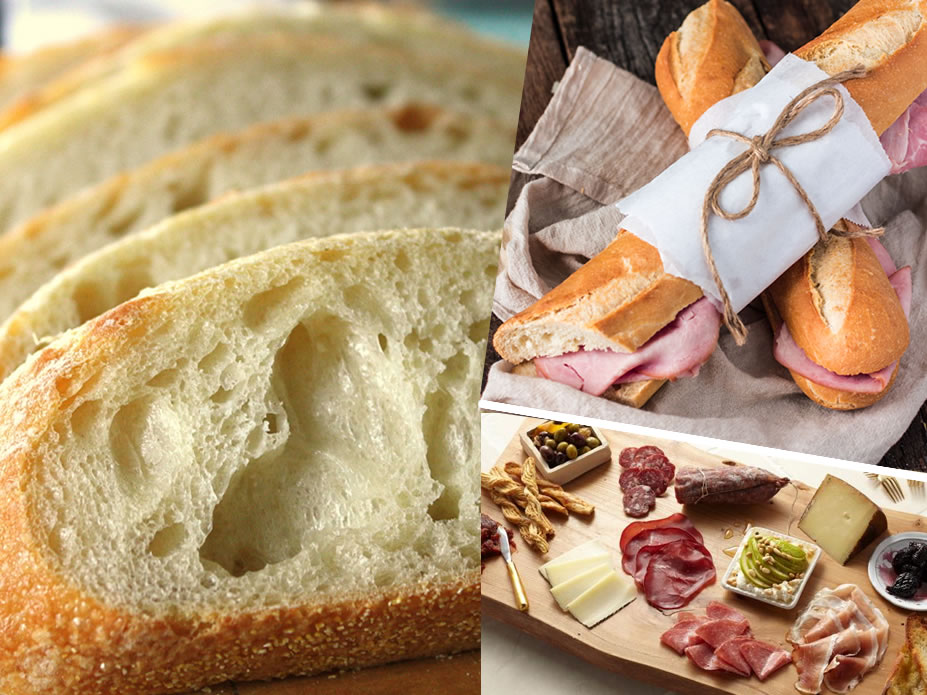A french baguette , ham and cheese with spicy antipasti to sample MAKES A NICE HAPPY HOUR