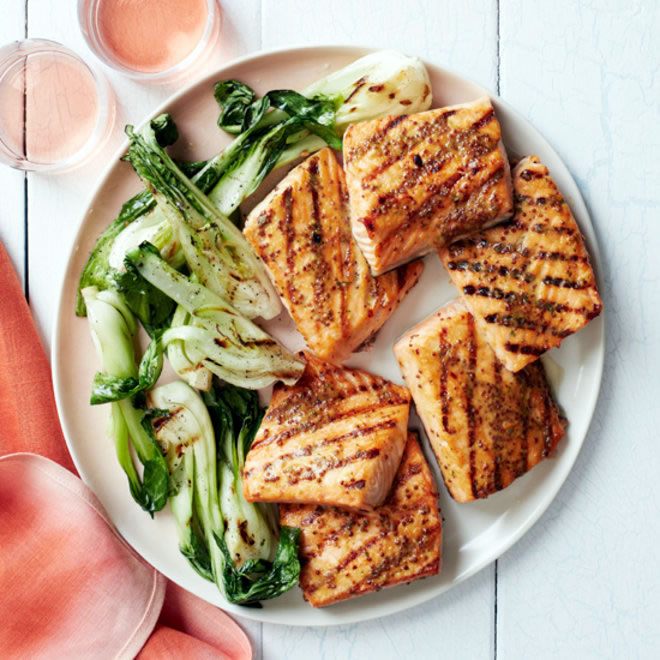 JAMIE BISSONNETTE OF FOOD AND WINE GRILLED SALMON WITH HONEY MUSTARD PHOTO: COURTESY OF FOOD & WINE.