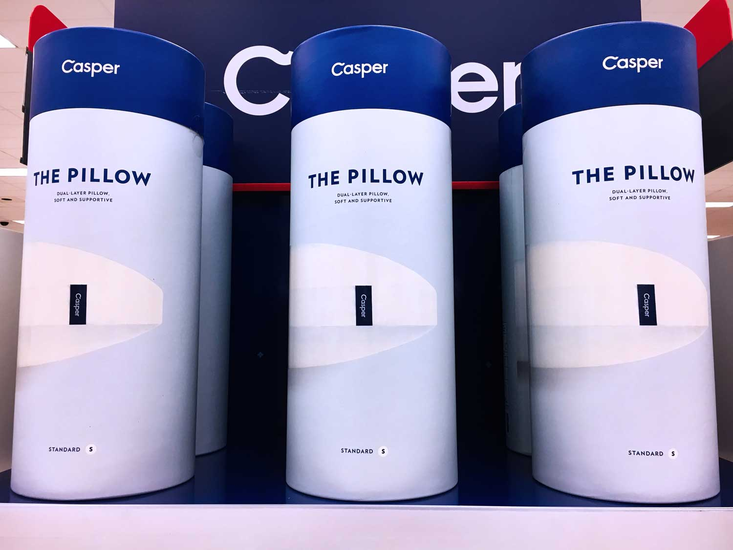 YOU CAN PREVIEW THE CASPER PILLOW AT MOST TARGET STORES. THE PACKAGING ALLOWS YOU TO FEEL THE FLUFFINESS FOR YOURSELF! COMES WITH 100 NIGHT TRIAL.