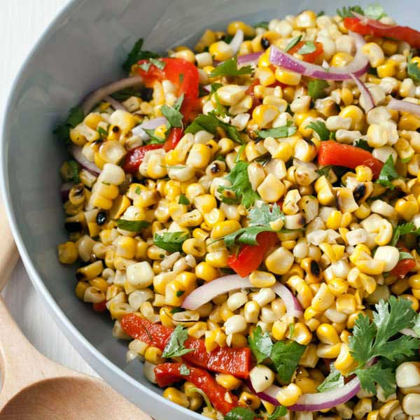 ROASTED CORN & PEPPER SALAD IS WITH A CHILLED GLASS OF NOBILE ROSE