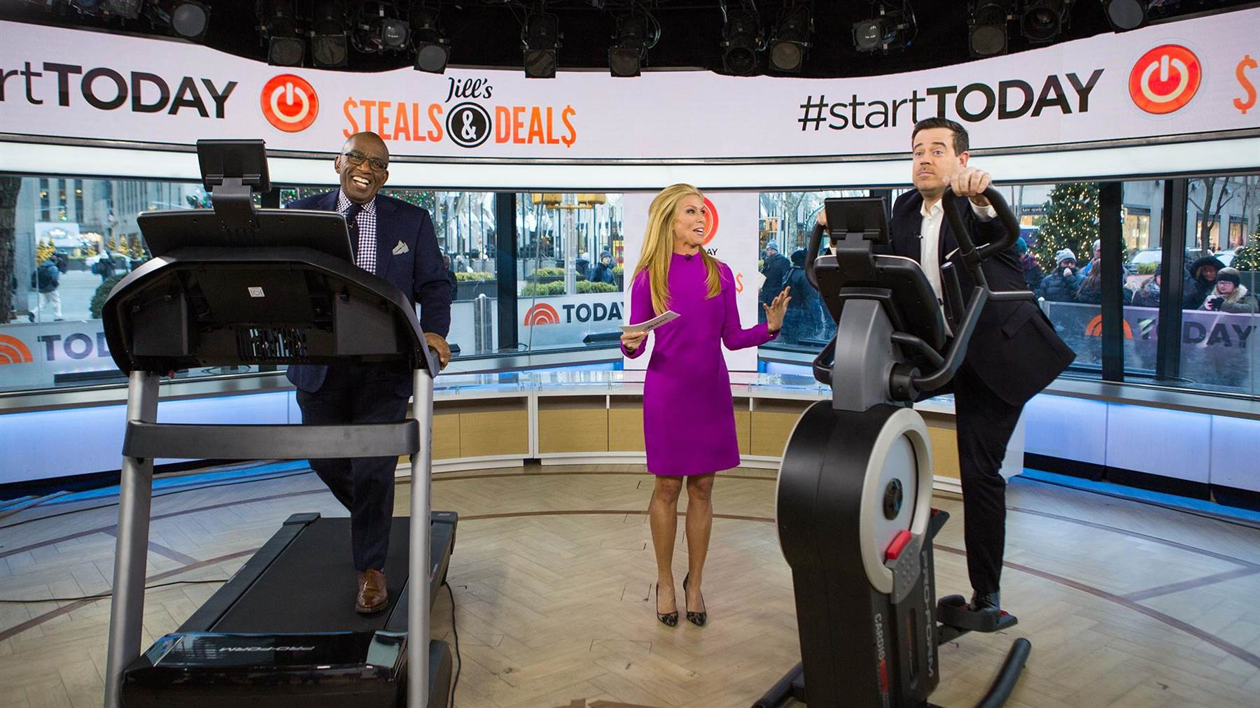 AL ROKER, JILL MARTIN & CARLSON DALY  HAVING FUN JILL'S STEALS AND DEALS ON THE TODAY SHOW FEATURING THE SMART PRO 2000 TREADMILL & THE  HIIT TRAINER  PRO   FROM PROFORM