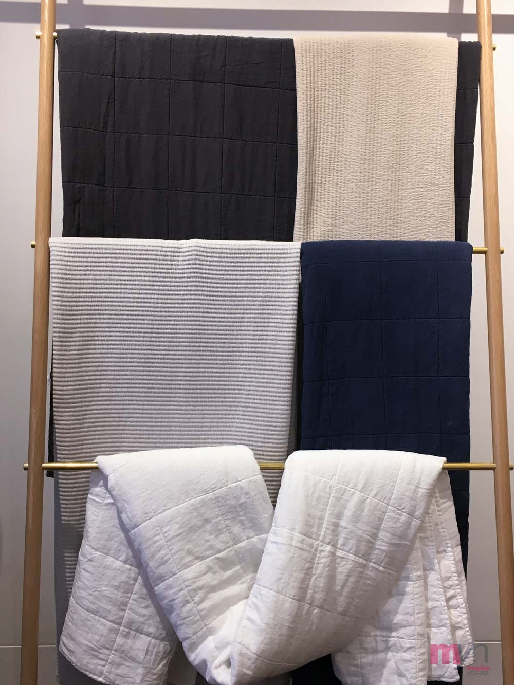 LINEN PARACHUTE QUILTS  IN WHITE, NAVY & CHARCOAL &  MATELASSE COVERLETS