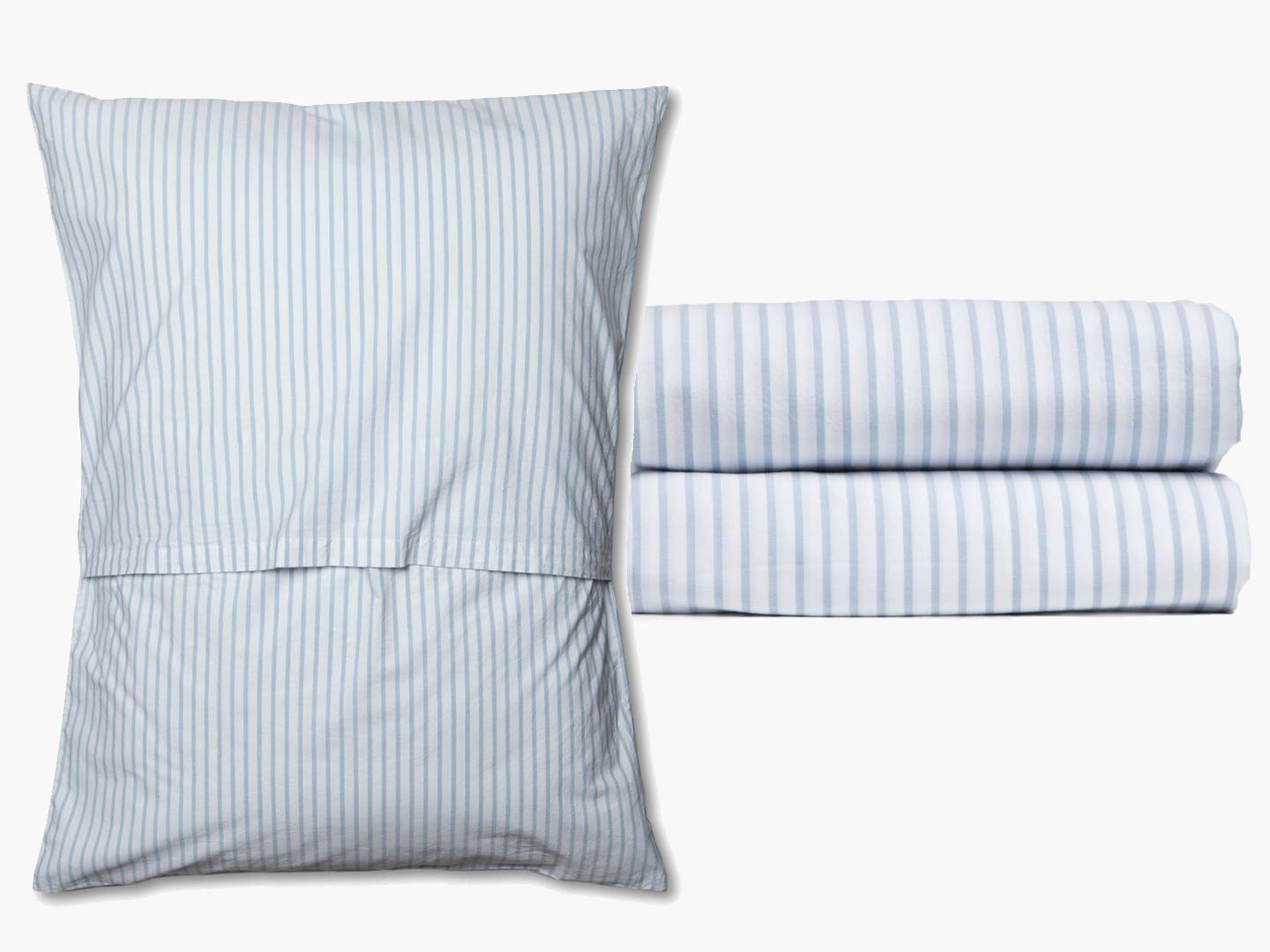 STRIPED PERCALE SHEETS & PILLOW CASES  AVAILABLE IN 3 COLORS. BLUE, GREY AND TAUPE